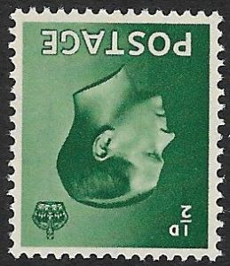SG457Wi  ½d Green  Inverted Watermark Unmounted Mint (1936 Edward VIII Stamps)